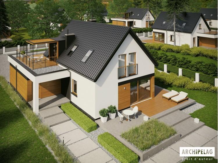 Plan de maison E13 G1 ECONOMIC Option, maison ossature bois, enduit, bardage