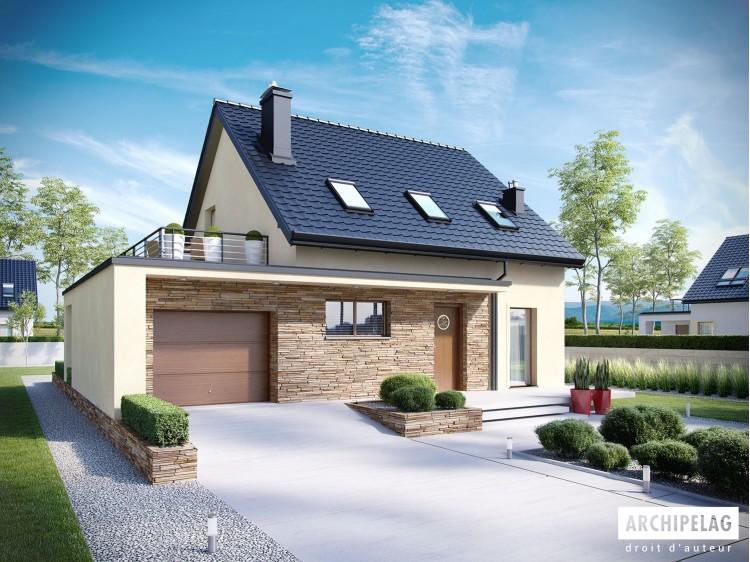 Plan de maison E14 III G1 Option, maison ossature bois, enduit, bardage