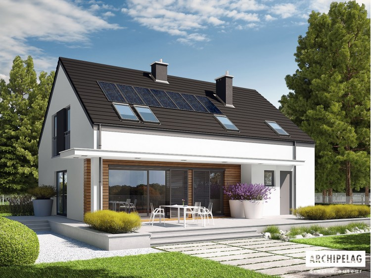 Plan de maison E4 G1 Option, maison ossature bois, enduit, bardage