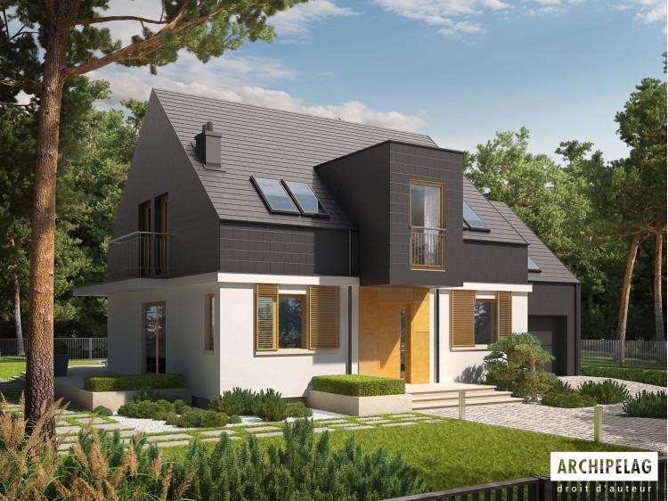 Plan de maison E5 G1 ECONOMIC Option, maison ossature bois, enduit, bardage