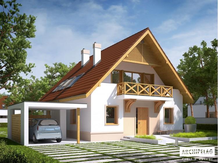 Plan de maison E9 soft  Option, maison ossature bois, enduit, bardage
