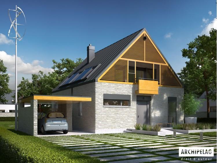 Plan de maison E9 z W (WA) E PLUS Option, maison ossature bois, enduit, bardage