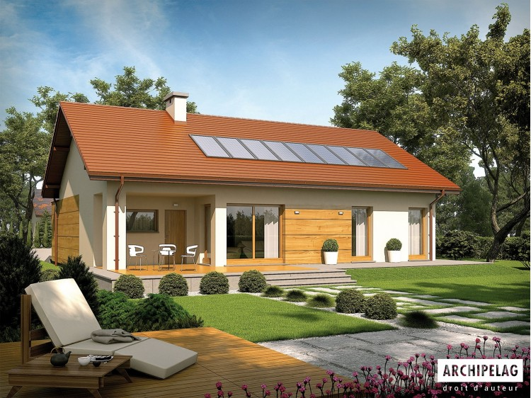 Plan de maison Edwin G1 Option, maison ossature bois, enduit, bardage