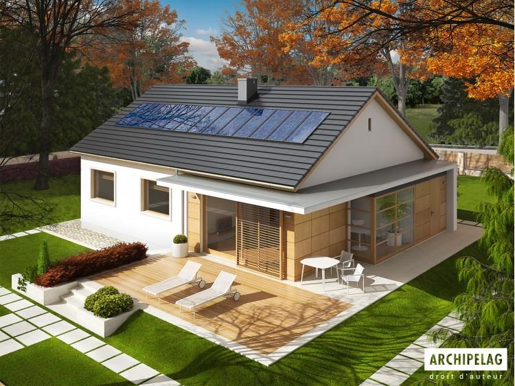 Plan de maison EMI Option, maison ossature bois, enduit,...