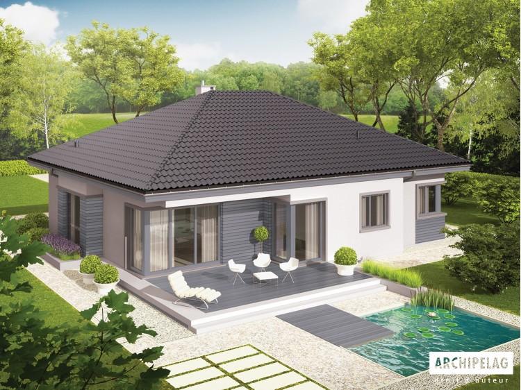 Plan de maison ERIS II G 2 W C  Option, maison ossature bois, enduit, bardage