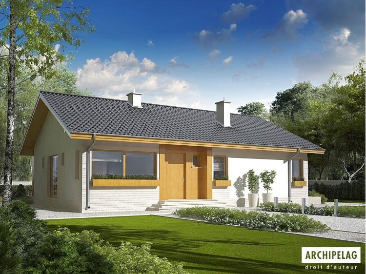 Plan de maison  ERYK Option, maison ossature bois, enduit, bardage bois