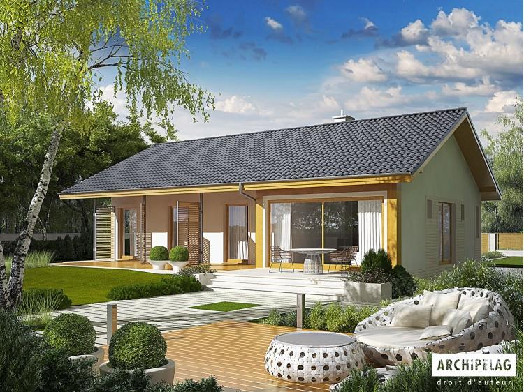 Plan de maison ERYK ENERGO PLUS  Option, maison ossature bois, enduit, bardage