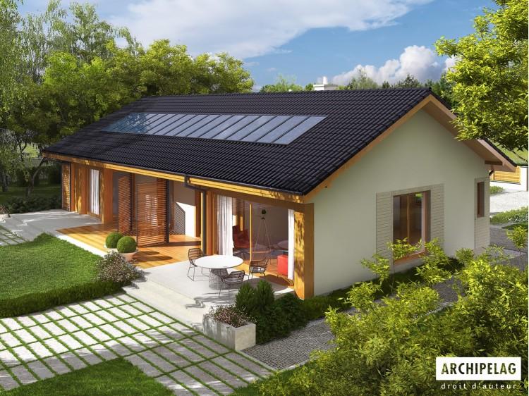 Plan de maison Eryk G1 Option, maison ossature bois, enduit, bardage