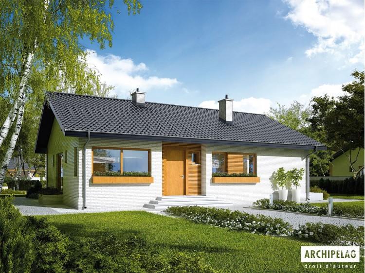 Plan de maison ERYK III Option, maison ossature bois, enduit, bardage
