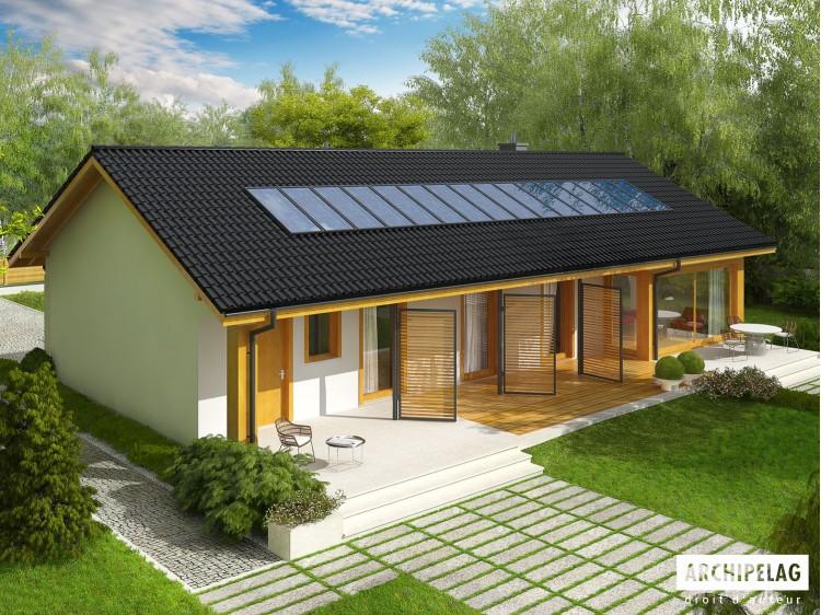 Plan de maison ERYK II G 1 Option, maison ossature bois, enduit, bardage
