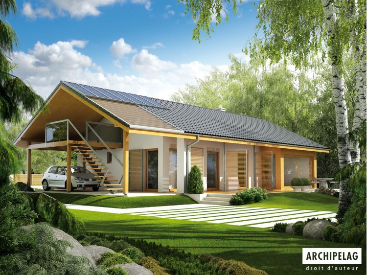 Plan de maison ERYK ZW Option, maison ossature bois,...