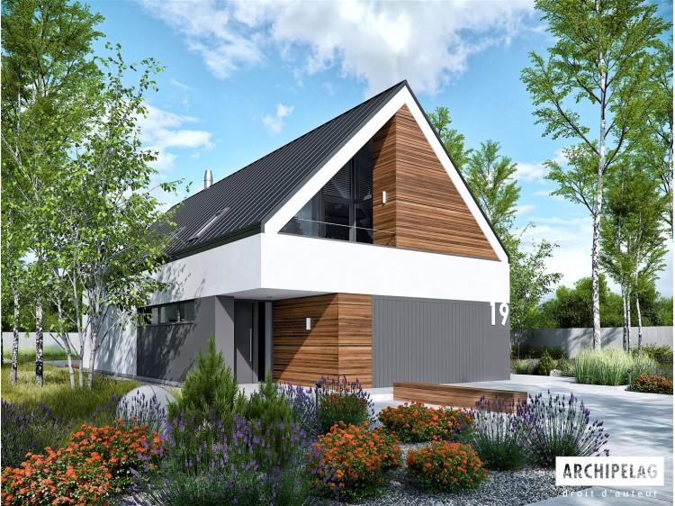 Plan de maison EX 19 G2 ENERGO PLUS Option, maison ossature bois, enduit, bardage