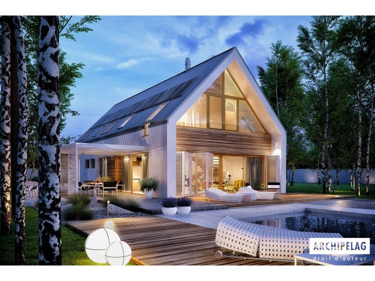 Plan de maison EX 19 II G2 ENERGO PLUS Option, maison ossature bois, enduit, bardage