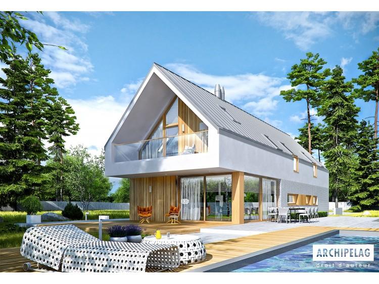 Plan de maison EX 20 G2 ENERGO PLUS Option, maison ossature bois, enduit, bardage