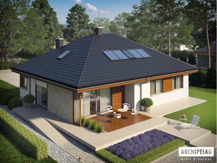 Plan de maison Flo II Option, maison ossature bois, enduit, bardage