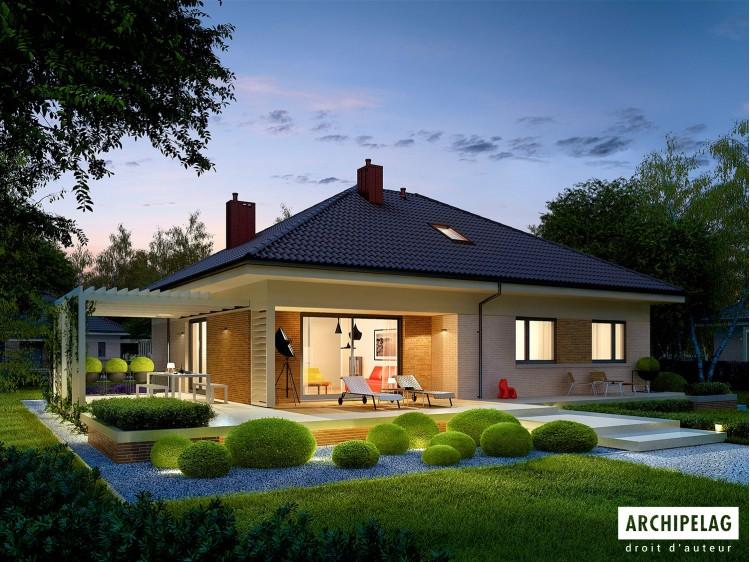 Plan de maison Flo III Option, maison ossature bois, enduit, bardage