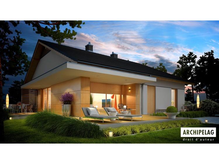 Plan de maison Iwo G1 Option, maison ossature bois,...