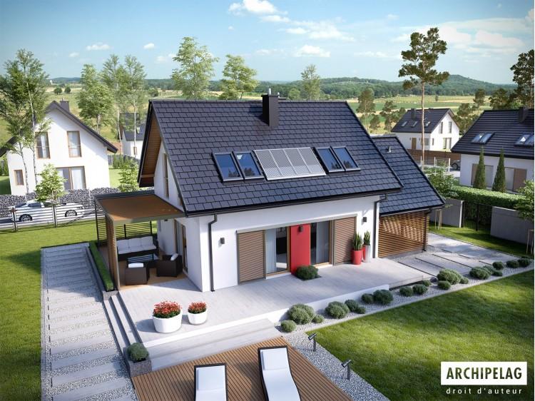 Plan de maison Lea II  (z wiatą)  Option, maison ossature...