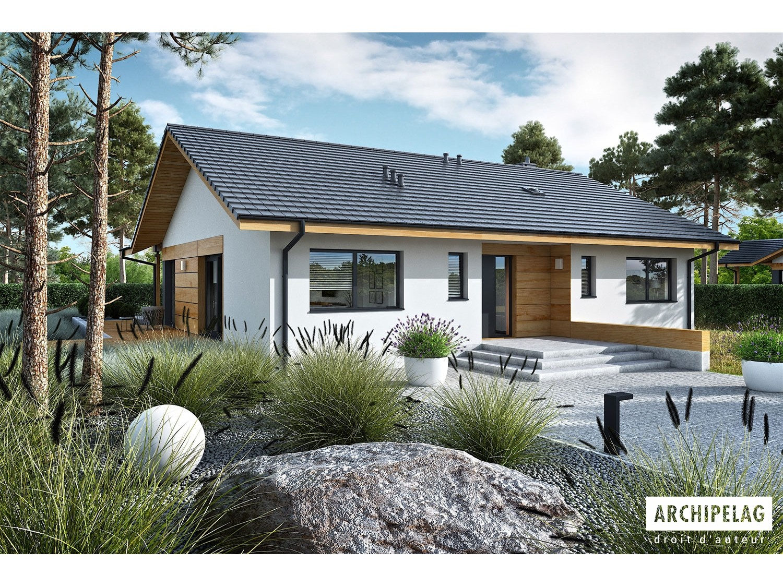 Plan de maison Mini 4 w. II Option, maison ossature bois, enduit, bardage