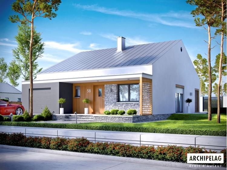 Plan de maison Ralf II G1 Option, maison ossature bois,...