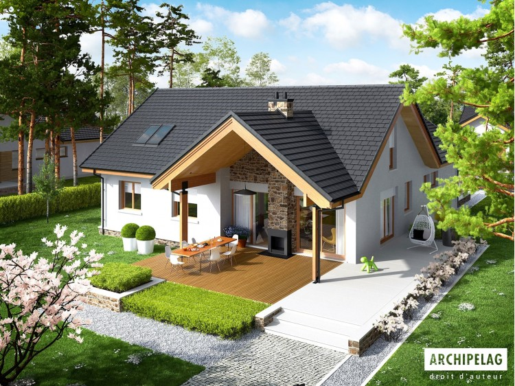 Plan de maison Simon G2 Option, maison ossature bois,...