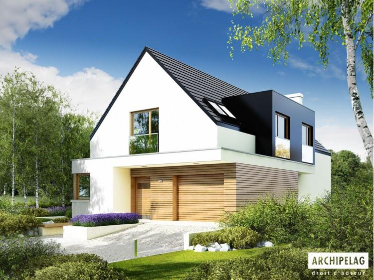 Plan de maison  BRUNO G1 Option, maison ossature bois enduit