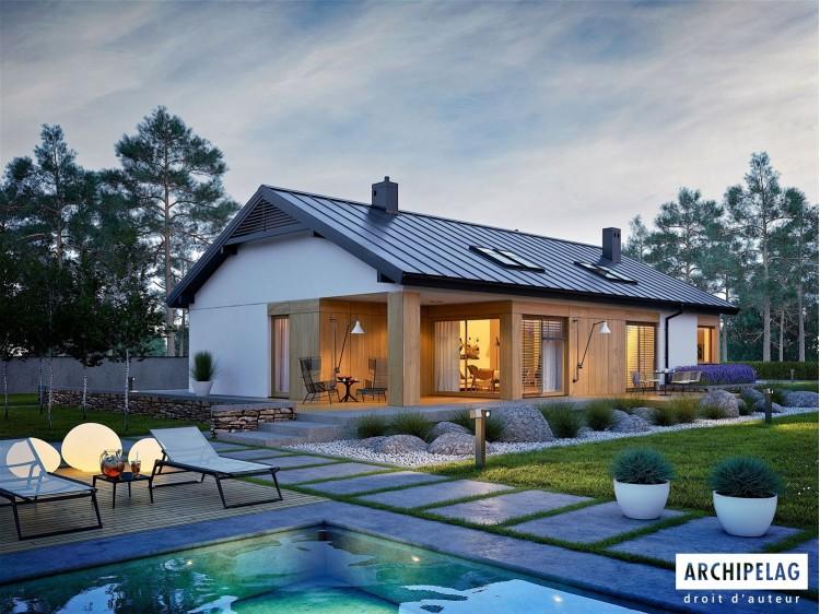 Plan de maison DANIEL III G2 Option, maison ossature bois, enduit, bardage