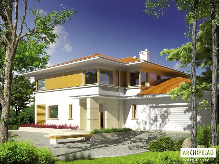 Plan de maison Diego II G2 Option, maison ossature bois, enduit, bardage