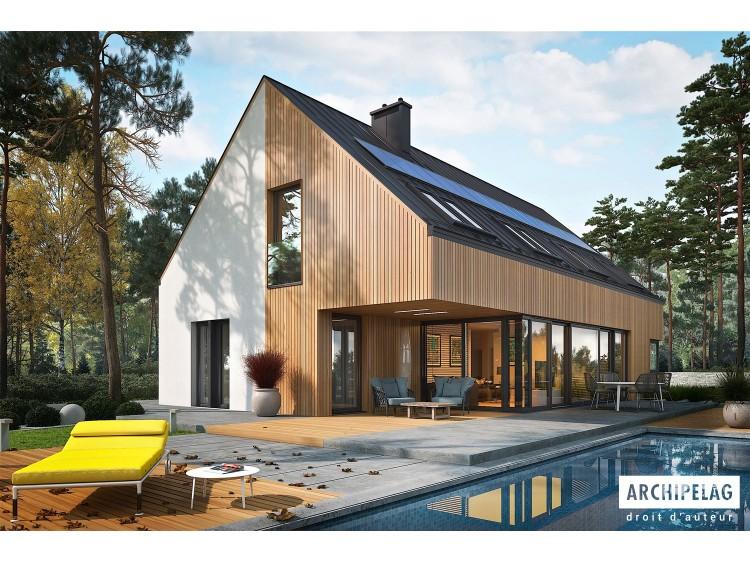 Plan de maison Daniel V G2 Option, maison ossature bois, enduit, bardage